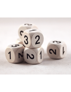 Dice with 1-2-3 (16mm, wood)