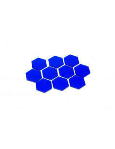Transparant Hexagons 34mm (10x) - Blauw