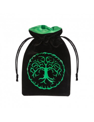 Forest Black & Green Velour Dice Bag