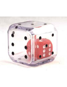 Double dice D6d6 clear/red