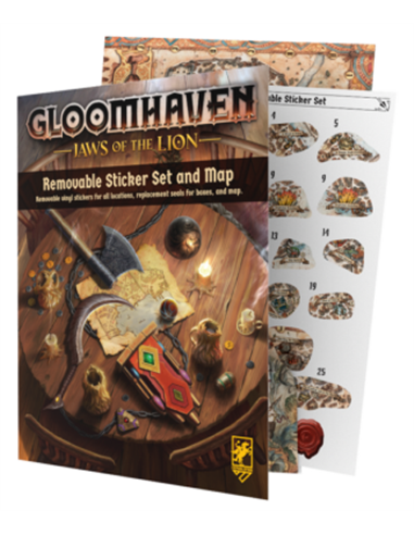 Gloomhaven Jaws of the Lion Removable Sticker Sheet and Map