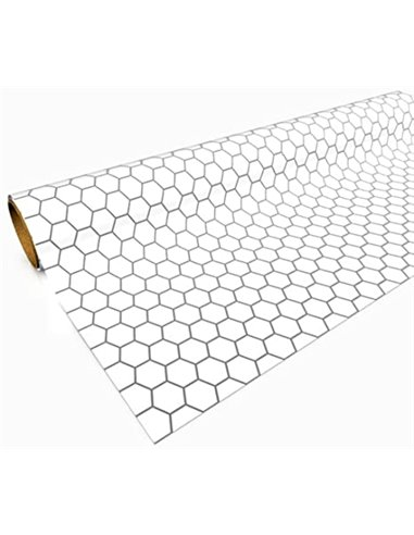 """Gaming Paper: White 1"""" Hexagon Roll"""